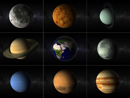 A collage of different planets of the solar system including moon and earth