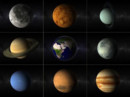 Eine Collage von verschiedenen Planeten des Sonnensystems, einschlie�lich Mond und Erde Lizenzfreie Bilder