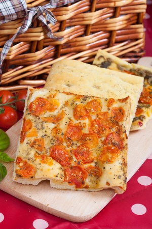 pic nic: Slices of Typical italian focaccia bread like pizza Stock Photo
