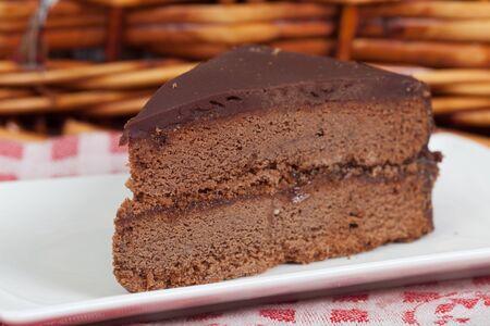 Delicious slice of home made Sachertorte cake photo