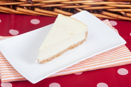 Delicious slice of an home made cheesecake photo