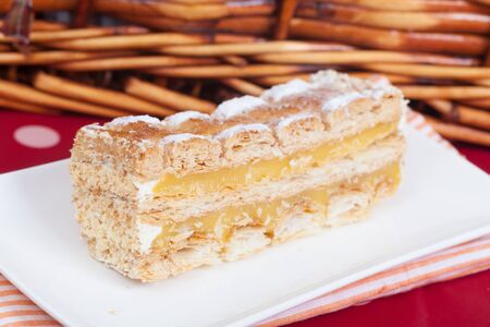 pic nic: Delicious slice of an home made mille-foglie cake Stock Photo