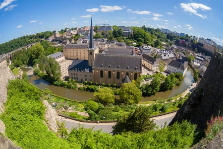 luxembourg: Panoramic view of the Grund, the old town of Luxembourg Stock Photo