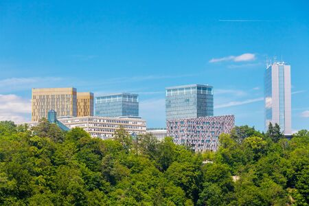 Panoramic view of some skyscrapers in the European quartier in Luxembourg Фото со стока