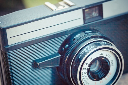 folding camera: The beautiful design of an old vintage camera with analogic film