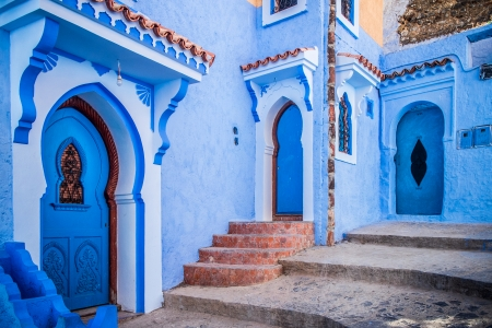 The beautiful blue medina of Chefchaouen in Morocco Standard-Bild