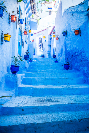 Die sch�ne blaue Medina von Chefchaouen in Marokko