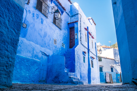 The beautiful blue medina of Chefchaouen in Morocco Stock Photo