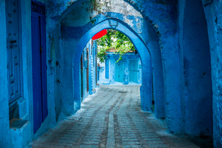 The beautiful blue medina of Chefchaouen in Morocco Фото со стока