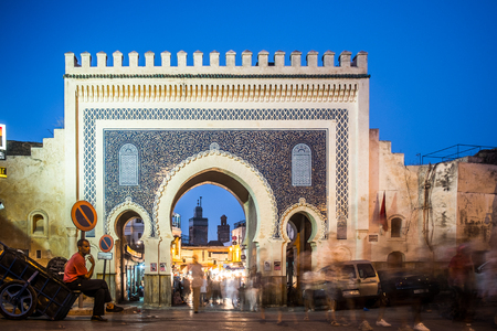 bab: Bab Boujloud, the main door to the old medina of Fes Stock Photo