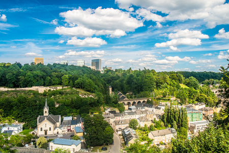 luxembourg: Panoramic view of luxembourg city with a cloudy sky Stock Photo