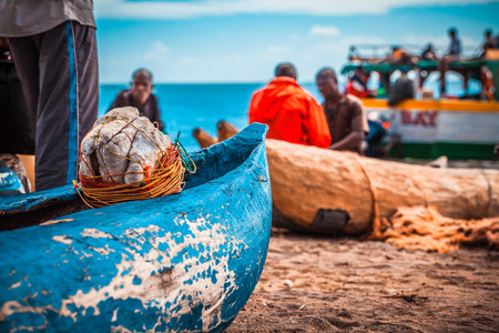 Fishermans in Malawi, at the lake Editorial