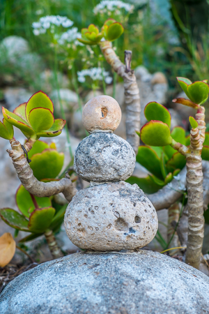 Stone cairn as a metaphor of calm and peace photo