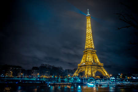 The beautiful Eiffel tower in Paris at night
