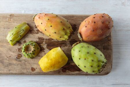 prickly: Bunch of fresh tasty prickly pears Stock Photo