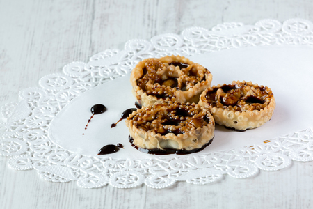 cartellate: Cartellate, traditional home made pastries filled with figs syrup Stock Photo