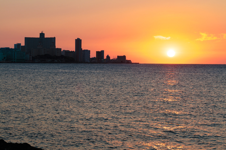 habana: Spectacular sunset over the Malecon in La Habana, Cuba Stock Photo
