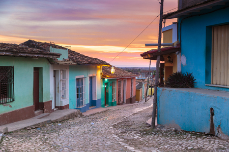 Sunset over the beautiful city of Trinidad, Cuba Stock Photo