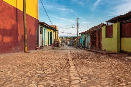 typical: Typical old cobblestone street in Trinidad, Cuba