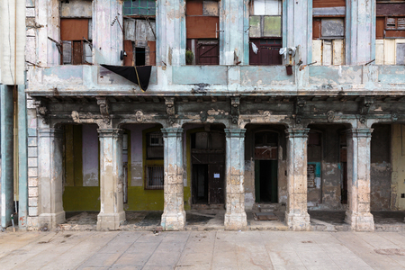 habana: Old dilapidated buildings in the old Habana city in Cuba Stock Photo
