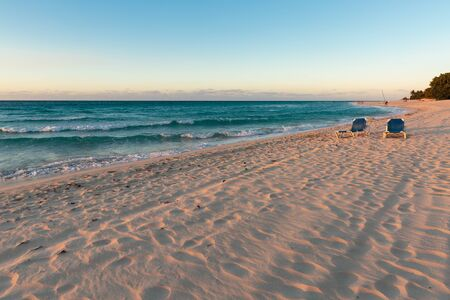 caribbean: Spectacular sunset on the famous Varadero sand beach in Cuba