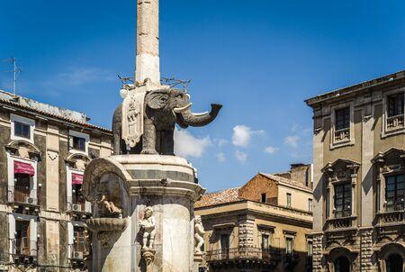 catania: The Elephant statue, the symbol of Catania in Sicily