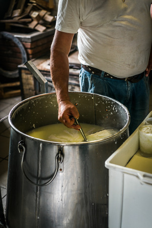 ricotta cheese: Reportage on the making of ricotta cheese in a farm in Sicly