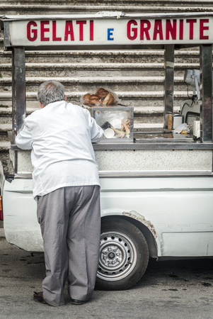 sicilia: Old traditional street vendor of ice cream in Modica, Sicily