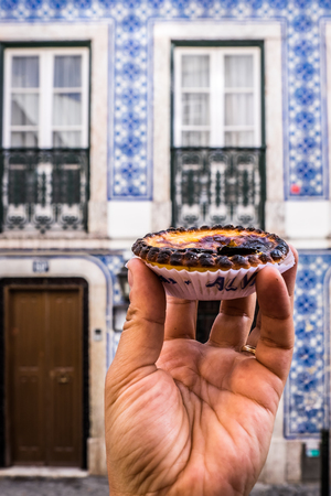 nata: The typical Pastel de Nata cake from Lisbon