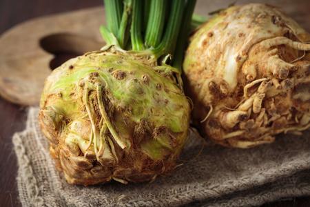 Fresh raw celeriac for an healthy nutrition Stock Photo