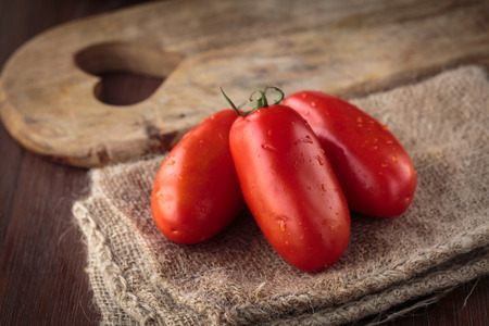 Delicious fresh raw San Marzano tomatoes