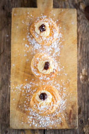 zeppole: Delicious home made Zeppole pastries typical from south of Italy, Puglia, region