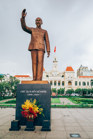 Ho CHi Minh statue in the city in Vietnam Editorial