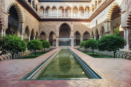 spanish architecture: Amazing example of the moorish architecture in Seville Editorial