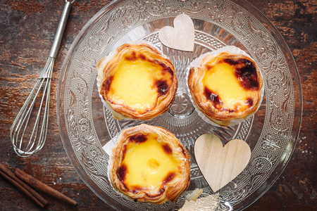 Traditional creamy pastry from Portugal, Pasteis de Nata. Stock Photo