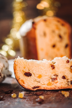 Traditional italian Panettone cake to celebrate Christmas holidays Stock Photo - 89888305