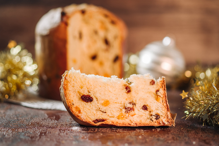 Traditional italian Panettone cake to celebrate Christmas holidays