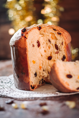 Traditional italian Panettone cake to celebrate Christmas holidays Stock Photo - 89910311