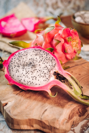 Delicious and colorful dragon fruit typical from asia