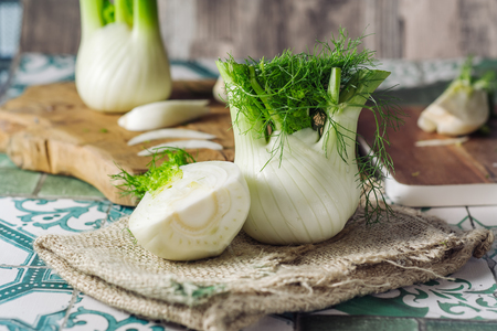 Genuine and fresh raw fennel on a rustic background