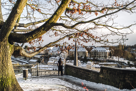 Candid life in the city of Luxembourg during winter time Foto de archivo