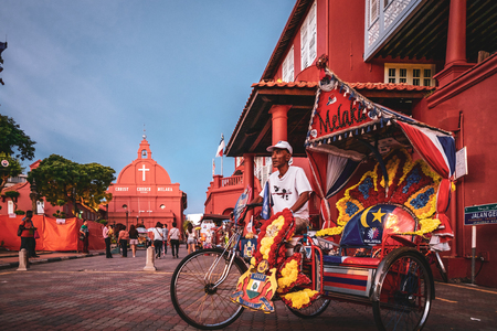 Weird and typical trishaw in Melaka, Malaysia Editorial