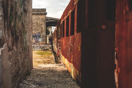 MANDURIA-ITALYDECEMBER 2017: A whole train station abandoned in the south of Italy