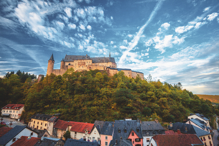 The wonderful castle of Vianden, a little village in Luxembourg Imagens