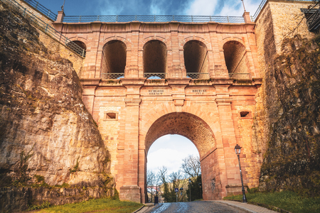 Schlassbréck, the historical bridge in the old city of Luxembourg Stock Photo