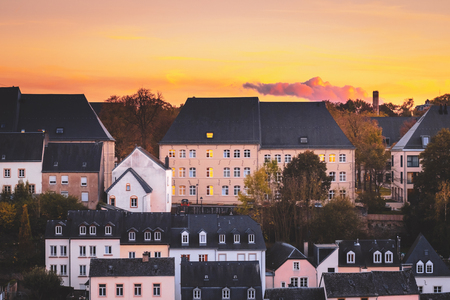 Typical rooftops in the city of Luxembourg Stock Photo