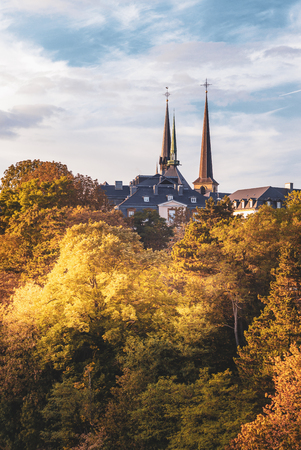 Spire of the Notre Dame Cathedral in the city of Luxembourg Stock Photo