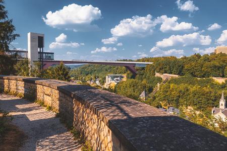 The modern panoramic elevator in Pfaffenthal Stock Photo