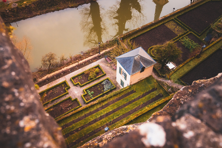 Private farm garden in the old town Luxembourg Stock Photo