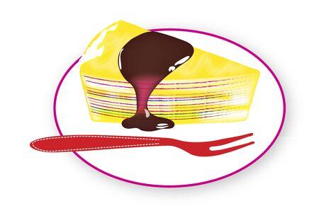 mille: Rainbow Mille Crepe Cake Vector